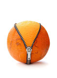 Cellulite. Zipped orange with skin flaws revealing fresh fruit peel underneath Royalty Free Stock Photos