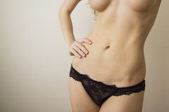 Cellulitis problems 7. Slim woman body in passionate pose, closeup of slim waist stock images