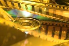 Celluloide con DVD nel colore giallo Fotografie Stock