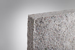Cellulose insulation. Batt panel, made of recycled newspapers, used as building thermal insulation royalty free stock photography