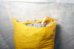 Cellulose insulation made from recycled paper. The ecologicaly clean cellulose insulation, insulation from recycled newsprint royalty free stock image
