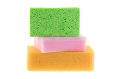 Cellulose sponge, dish washing sponge with scrub and multi purpose sponge isolated on white. Stack of clean super absorbent cellulose sponge, dish washing sponge stock photo