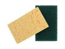 Cellulose sponges with scouring pad. Two new cellulose sponges with one having a scouring pad isolated on a white background stock photo