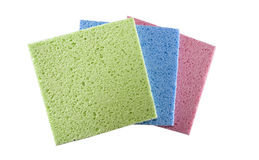 Cellulose wipes. Tree color cellulose wipes with big pores Stock Images