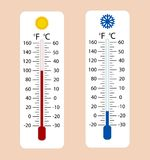 Celsius and fahrenheit meteorology thermometers measuring heat a. Nd cold, vector illustration. Thermometer equipment showing hot or cold weather Royalty Free Stock Photo