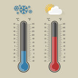 Celsius and fahrenheit meteorology thermometers measuring heat and cold,  illustration. Thermometer equipment showing hot or Royalty Free Stock Photos