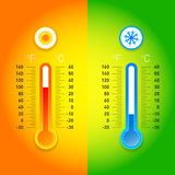 Celsius and fahrenheit meteorology thermometers measuring heat and cold, isolated vector illustration. Stock Image