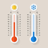 Celsius and fahrenheit meteorology thermometers measuring heat or cold, vector illustration Stock Images