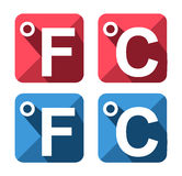 Celsius and Fahrenheit symbol icon set Stock Photos