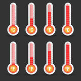 Celsius and Fahrenheit thermometers icon with different levels Stock Photos