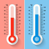 Celsius and Fahrenheit thermometers. Measuring heat and cold temperature, meteorology equipment Stock Image