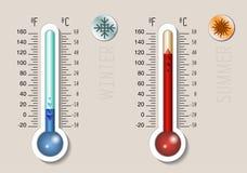 Celsius i Fahrenheit meteorologii termometr royalty ilustracja