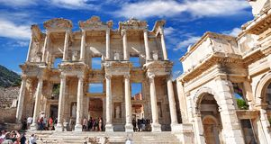 The Celsius Library in the ancient city of Ephesus. Izmir Turkey. Celsius Library, Ephesus. An ancient Ionian is a Greek city. Ephesus ruins, 3 kilometers to royalty free stock photography