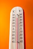 Celsius thermomether with fire flames Stock Image