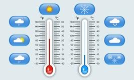 Celsius- und Fahrenheits-Meteorologiethermometer, die heiße und kalte Temperatur, Satz Wetterikonen, Indikatoren, Vektor zeigen Lizenzfreie Stockfotos