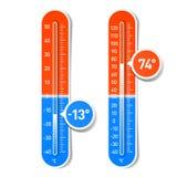 Celsiusa och Fahrenheit termometrar royaltyfri illustrationer