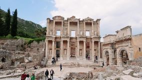 Celsus图书馆时间间隔在以弗所Efes 古希腊市伊兹密尔,土耳其 股票录像