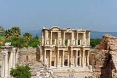 Celsus图书馆在以弗所的 库存照片