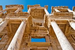 Celsus library. Architecture details and facade damages of famous and ancient library of Celsus in Ephesus, Turkey Royalty Free Stock Photo