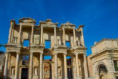 Celsus library in ancient antique city of Efes, Ephesus ruins. Ancient antique city of Efes Celsus library ruin in Turkey. Ancient Greek city Ephesus ruins on royalty free stock image