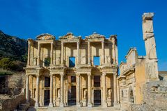 Celsus library in ancient antique city of Efes, Ephesus ruins. Ancient antique city of Efes Celsus library ruin in Turkey. Ancient Greek city Ephesus ruins on royalty free stock photos
