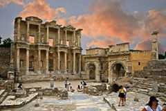 Celsus library in Ephesus ancient city Stock Photos