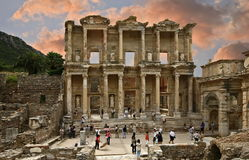 Celsus library in Ephesus ancient city. Ephesus which was established as a port, was used to be the most important commercial centre.nEphesus in the UNESCO World Stock Images