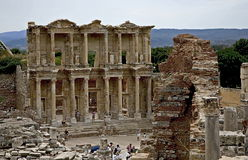 Celsus library in Ephesus ancient city. Ephesus which was established as a port, was used to be the most important commercial centre.nEphesus in the UNESCO World Royalty Free Stock Photography