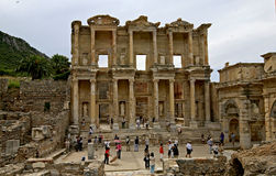 Celsus library in Ephesus ancient city. Ephesus which was established as a port, was used to be the most important commercial centre.nEphesus in the UNESCO World Stock Photography