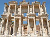 Celsus Library, in Ephesus, Asia Minor, Turkey. The library of CelsusCelsus Library in Ephesus Asia Minor Anatolia now Turkey was built in honor of Tiberius Royalty Free Stock Image