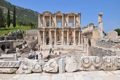 Celsus Library in Ephesus. Ruins of the Library of Celsus in Ephesus Stock Image