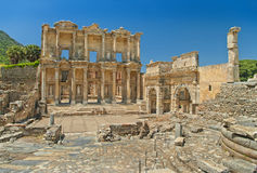 Celsus library in ephesus on sunny day Stock Image