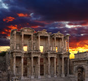 Celsus Library in Ephesus. At sunset, Turkey Stock Photos