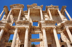 Celsus Library in Ephesus, Turkey. Isolated on a clear blue background Stock Photos
