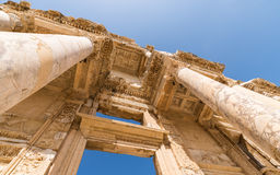 Celsus Library in Ephesus. Turkey with blue sky Royalty Free Stock Image
