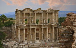 Celsus library. Ephesus which was established as a port, was used to be the most important commercial centre Royalty Free Stock Images