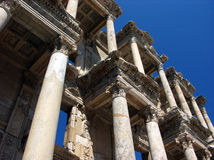 Celsus library ruin in Ephesus,Turkey. Horizontal photo of Celsus library in ancient city Ephesus in Turkey with blue sky Stock Images