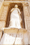 Celsus library statue in Ephesus. Aretia, statue which represent goddess of virtue in ancient Celsus library in Ephesus, Turkey Royalty Free Stock Images