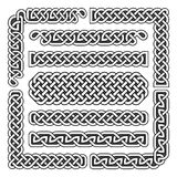 Celt supła wektorowe średniowieczne bezszwowe granicy, wzory i ornamentów kąty, Wzorów muśnięcia ustawiający Fotografia Royalty Free