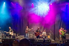 Celtas Cortos in Sagunt. 2016 tour. Sagunto, Spain - Friday July 15, 2016 : Jesus Cifuentes and his Celtas Cortos rock band. First concert of his 2016 summer Royalty Free Stock Photos