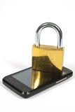 Celtelefoon en hangslot Stock Afbeelding