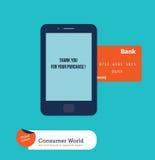 Celtelefoon met creditcard die online winkelen Stock Fotografie
