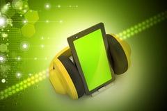 Celtelefoon met hoofdtelefoons Stock Foto's