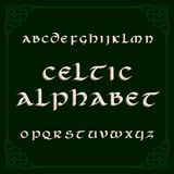Celtic alphabet font. Distressed letters and knot frame. Stock Images