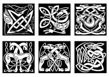 Celtic animals decorated irish ornament. Celtic styled abstract animals and birds decorated ornament in traditional ethnic irish style on black background for stock illustration
