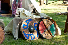 Celtic Armory Camp with Bone Skulls and Wooden Shields on Fur Ma. Celtic Armory Camp with Skulls and Shields on Fur Mantle Gray Red Green Blue Clan with Tents on Stock Photography