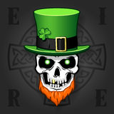Celtic beard skull with hat Royalty Free Stock Photography