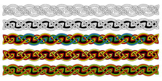 Celtic borders. Celtic ornament knots on white background. Each knot is made of many interlacing wires. The borders come in five different variations stock illustration