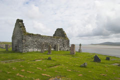 Celtic cemetery. Ruins of a chapel on a celtic cemetery, Isle of Islay, Scotland stock images