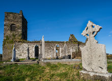 Celtic cemetery and old church ruins Royalty Free Stock Image